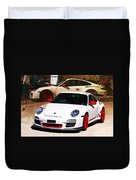 White Porsche Gt3rs Duvet Cover