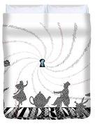White Rabbit Lyrics Typography Poster Duvet Cover