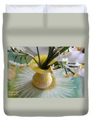 White Rays And Narcissus Duvet Cover
