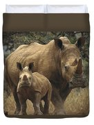 White Rhinoceros And Baby Lewa Kenya Duvet Cover