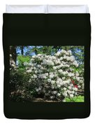 White Rhododendron Blooming In The Garden Duvet Cover