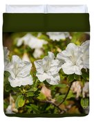 White Rhododendron Flowers In Bloom. Duvet Cover