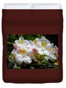 White Rhododendron In Sunlight Duvet Cover