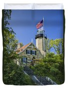 White River Lighthouse In Whitehall Michigan No.057 Duvet Cover