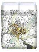 White Rose Abstract Duvet Cover