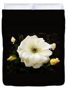 White Rose With Buds Duvet Cover