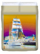 White Sails Ship And Colorful Background Duvet Cover