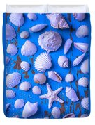 White Sea Shells On Blue Board Duvet Cover