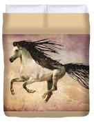 White Stallion Running Free  Duvet Cover
