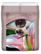 White Tailed Bumble Bee Upon Lily Flower Duvet Cover
