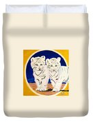 White Tiger Twins Duvet Cover