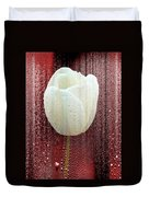 White Tulip On Red Duvet Cover
