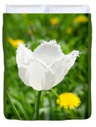 White Tulip On The Green Background Duvet Cover