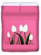 White Tulips On Pink Duvet Cover