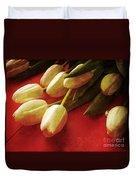 White Tulips Over Red Duvet Cover