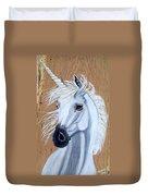 White Unicorn On Wood Duvet Cover
