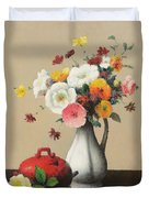 White Vase And Red Box Duvet Cover by Felix Elie Tobeen