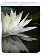 White Water Lily Reflections Duvet Cover