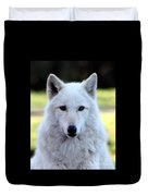 White Wolf Close Up Duvet Cover