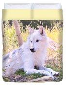 White Wolf Taking It Easy Duvet Cover