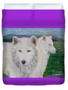 White Wolves Duvet Cover