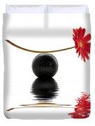 White Zen Gerbera Duvet Cover