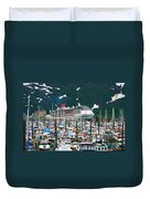 Whittier Alaska Boat Harbor Duvet Cover