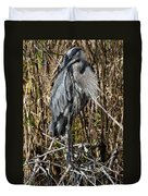 Who Is There - Great Blue Heron Duvet Cover