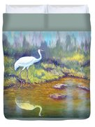 Whooping Crane - Searching For Frogs Duvet Cover