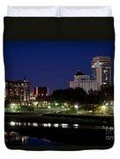 Wichita Skyline At Dusk Duvet Cover