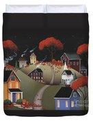 Wickford Village Halloween Ll Duvet Cover