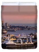 Wider Seattle Skyline And Rainier At Sunset From Magnolia Duvet Cover