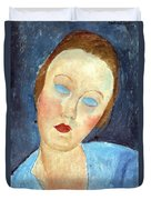 Wife Of The Painter Survage Duvet Cover by Amedeo Modigliani