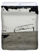 The Wright Brothers Wilbur In Motion At Left Holding One End Of Glider Duvet Cover
