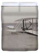 The Wright Brothers Wilbur In Prone Position In Damaged Machine Duvet Cover