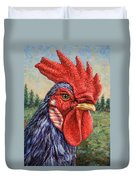 Wild Blue Rooster Duvet Cover