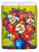 Wild Colorful Flowers Duvet Cover