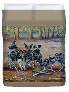 Wild Dogs After The Chase Duvet Cover
