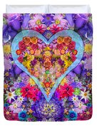 Wild Flower Heart Duvet Cover by Alixandra Mullins