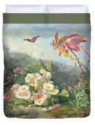 Wild Flowers And Butterfly Duvet Cover by Jean Marie Reignier