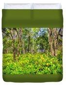 Wild Ginger And Ohia Trees Duvet Cover