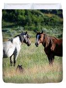 Wild Horses In Medora Duvet Cover
