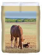 Wild Horses Mother And Baby Duvet Cover