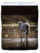 Wild Mustang On The River  Duvet Cover