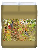 Wild Red Berrie Bush With Birds - Digital Paint Duvet Cover