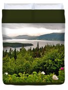 Wild Roses At Photographer's Point Overlooking Bonne Bay In Gros Morne Np-nl Duvet Cover