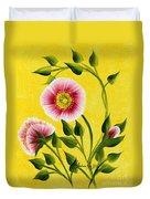 Wild Roses On Yellow Duvet Cover