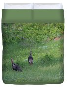 Wild Turkeys In Grass  In Kansas Duvet Cover by Robert D  Brozek