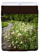 Wildflower Garden And Path To Gazebo Duvet Cover