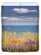 Wildflowers And Ocean Duvet Cover
